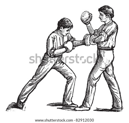 two boxers fighting vintage engraving old engraved illustration of two boxers fighting and one