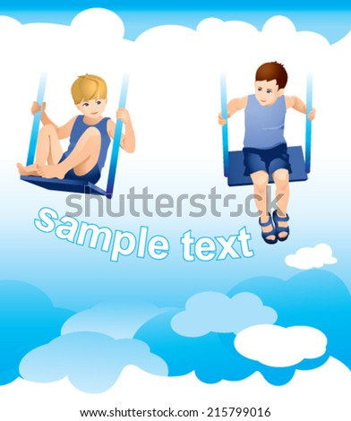 Two boys on a swing, on a sky background with clouds - stock vector