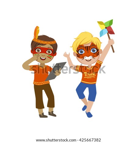 Two Boys With Painted Faces Bright Color Cartoon Childish Style Flat Vector Drawing Isolated On White Background - stock vector