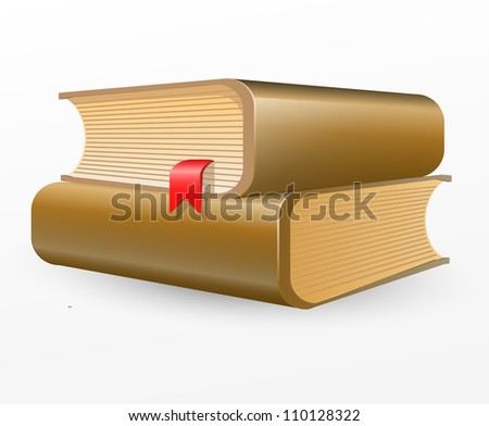 Two brown books with red bookmark . Vector illustration on white background - stock vector