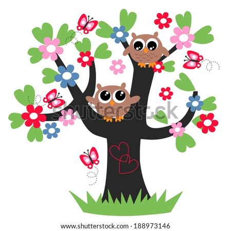 two brown owls in a tree love friendship - stock vector