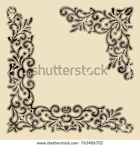 Two Brown Vintage Corners With Outline Elegant Hand Drawn Retro Floral Border Grunge Design