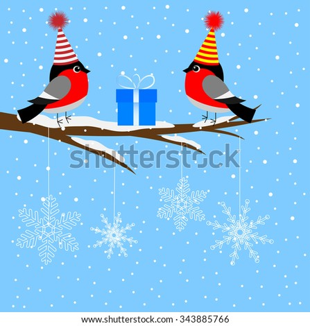 Two bullfinch sitting on a tree branch, vector illustration