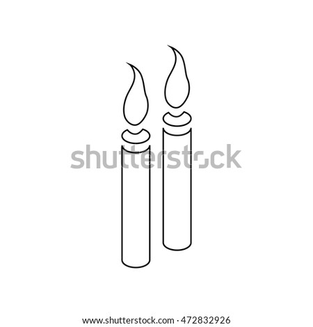Two burning candles icon in outline style isolated on white background