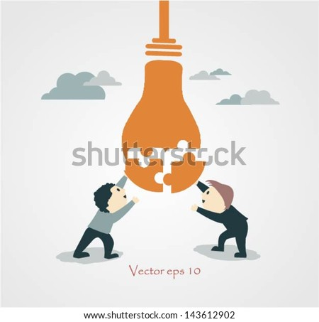 Two  Business connecting puzzle pieces to find the solution. - stock vector