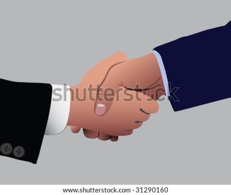 Two business dressed men shaking hands vector illustration - stock vector