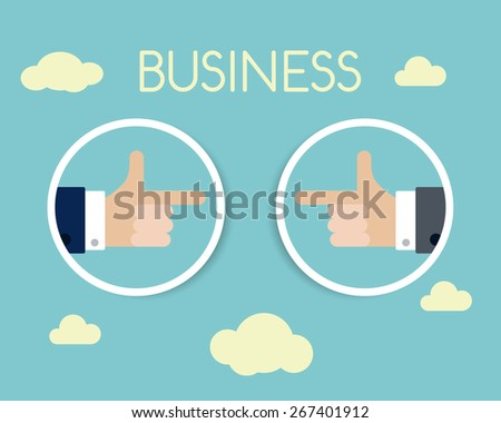 two business hands, flat modern concept