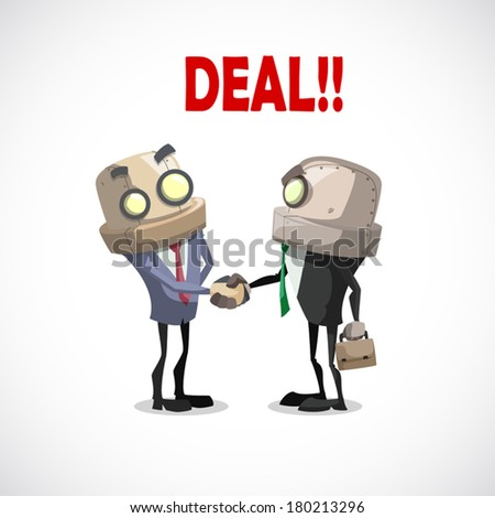 two business have a deal by shaking hands, business concept - stock vector