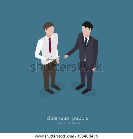 Two business man talking isometric style vector illustration