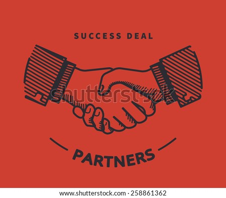 Two business partners agreed a deal and doing handshaking. Illustration on red background - stock vector