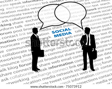 Two business people connect in social media network talk bubbles on a text page background - stock vector