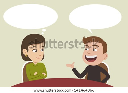 two business people having a conversation and man explaining something - stock vector