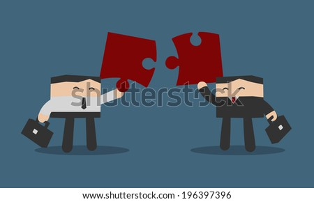 Two business people to put puzzles in order, Flat design cartoon vector EPS10 - stock vector
