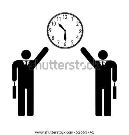 Two businessman and clock vector illustration isolated on white - stock vector