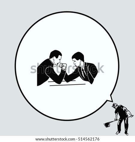 Two businessman arm wrestling. Competition in business. Vector illustration.
