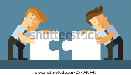 Two businessman connect puzzle pieces. Flat vector illustration. - stock vector