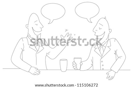 Two businessman drinking tea. Vector EPS10