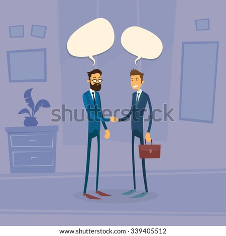 Two Businessman Hand Shake Talking Chat Box Bubble Communication Concept, Business Man Handshake Office Retro Flat Vector Illustration - stock vector