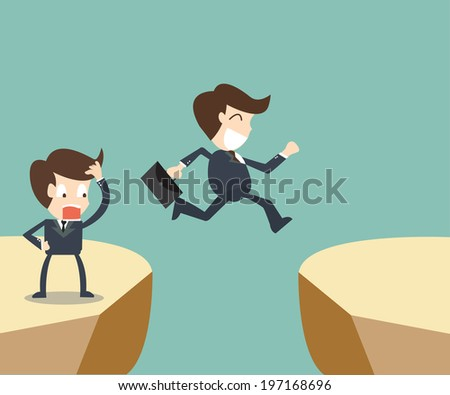 Two businessman looking and jumping over gap - stock vector