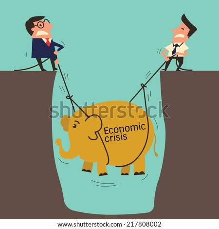 Two businessman, professional manager with subordinate worker try to pull up an elephant from big hole, metaphor to lift up economic crisis. Simple design with copyspace, you can write your own text. - stock vector