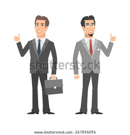Two businessman smiling and showing thumbs up - stock vector