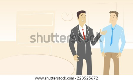 Two businessman talking in the office - stock vector