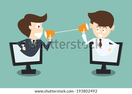 two businessman talking with cup telephone in computer via internet  - stock vector