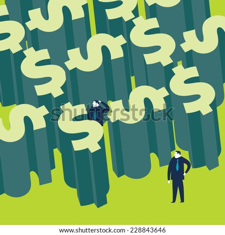 Two businessman trapped in a money labyrinth - stock vector