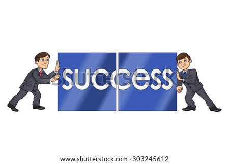 Two businessmen are putting together blocks with word Success on them symbolizing team work. Isolated on white background - stock vector