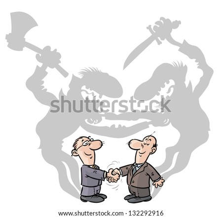 Two Businessmen handshaking with ulterior motives. - stock vector