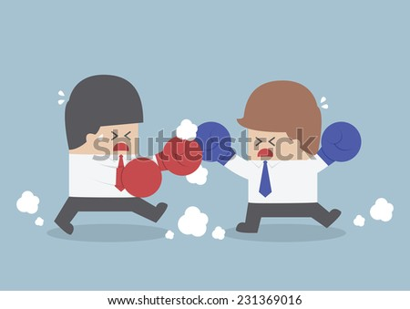 Two businessmen having a fight with boxing gloves, VECTOR, EPS10 - stock vector
