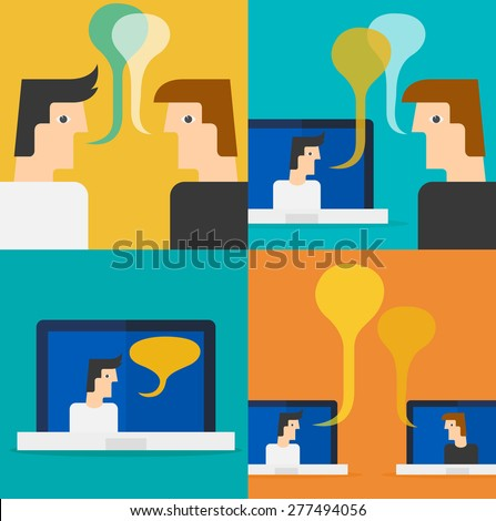 Two businessmen in conversation teleconference - stock vector