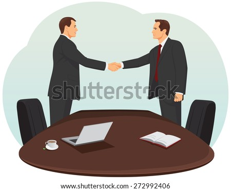 Two businessmen in suits are handshaking in the office - stock vector