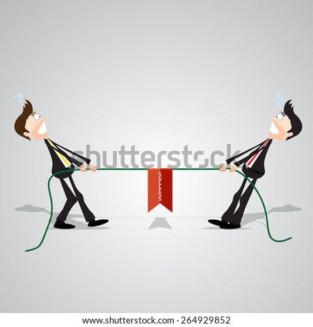 Two businessmen pull the rope that leads to success. - stock vector