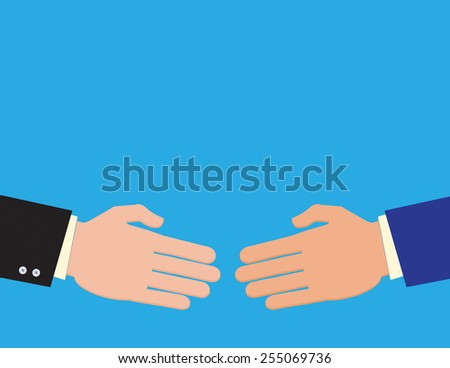 Two businessmen reach agreement on a deal with a handshake. - stock vector