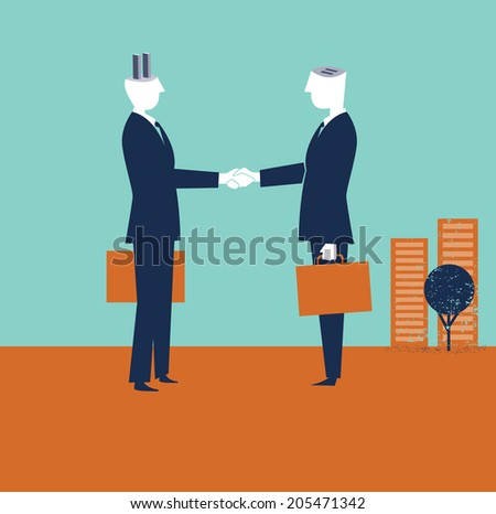 Two businessmen shaking hands - stock vector