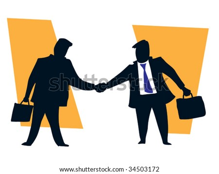 Two businessmen shaking hands finishing up a successful meeting - stock vector