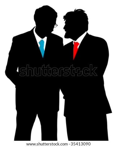 Two businessmen talking (vector)