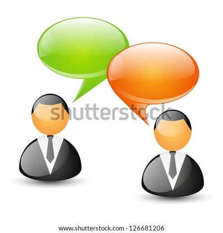 Two businessmen with speech bubbles - concept of communication - stock vector