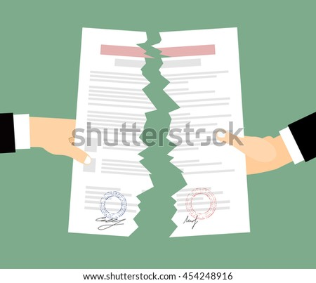 Two bussines men  Hands tearing apart a contract sheet of paper. Flat style