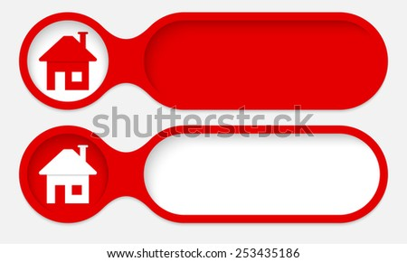 two buttons for entering text with home icon - stock vector