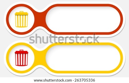 two buttons for your text and trashcan - stock vector
