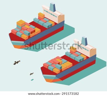 two cargo ship. vector illustration - stock vector