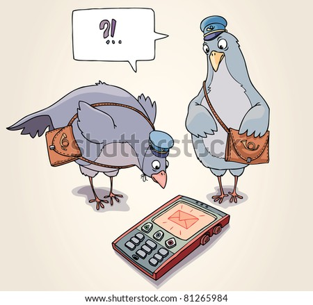Two carrier pigeons are wonder to receive the SMS message. - stock vector