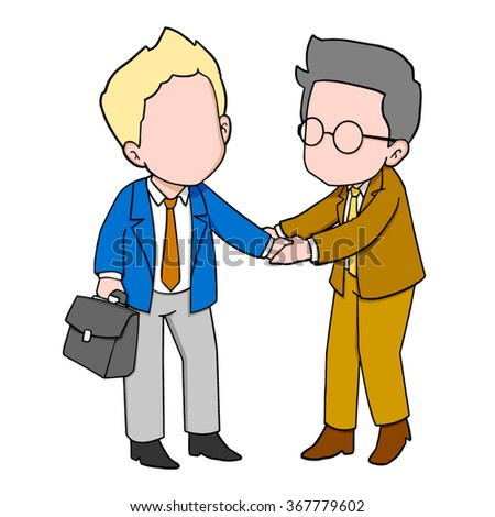 Two Cartoon Businessmen shaking hands - stock vector