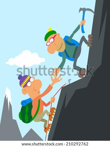 Two cartoon climber climbing a peak. - stock vector