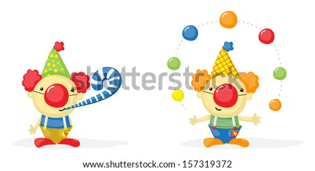 two cartoon clowns, one of them juggling with balls - stock vector