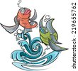 Two cartoon fish jumping out of water. Layered vector file available.   One Fish Two Fish - stock vector