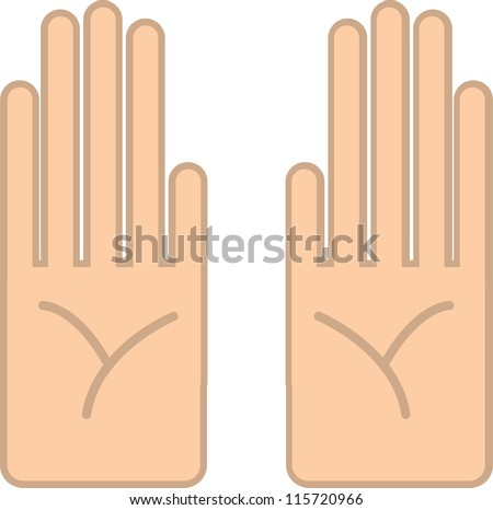 Two cartoon hands with palms facing viewer - stock vector