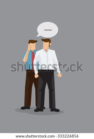 Two cartoon men in work attire gossiping in discreet. Vector illustration for concept on workplace gossip and office politics isolated on grey background. - stock vector